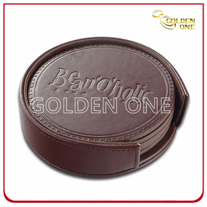 Best Quality Hot Stamped Round Shape PU Leather Coaster
