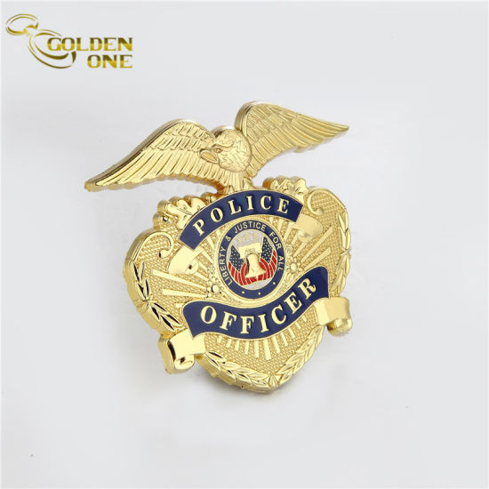 Customized Die Casting Gold Plated Metal Badge with Ribbon