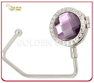 Quality Gemstone Decoration Metal Handbag Hook with Mirror Inside