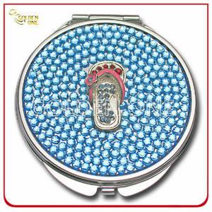 Custom Crystal Stone Decoration Printed Metal Cosmetic Mirror