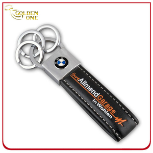 Debossed Printed Logo Chrome Plated Leather Keychain
