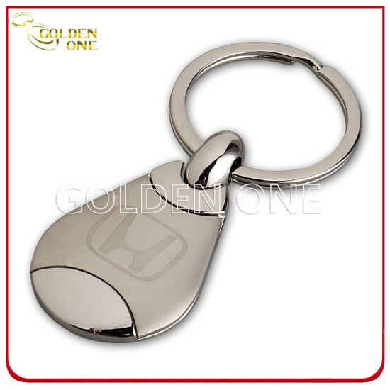 Promotion Superior Quality Round Shape Hot Stamped Leather Key Ring