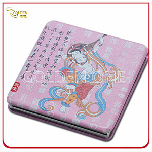 Traditional Style Custom Printed Folding Square Leather Pocket Mirror