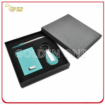 Leather Card Case and Keychain Gift Set