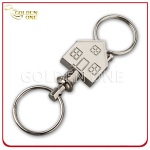Fancy Design Pull Apart House Shape Engravable Metal Key Ring
