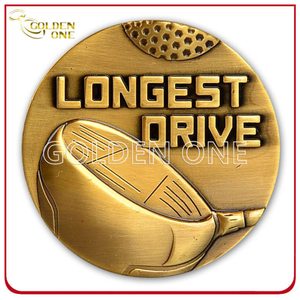 Custom High Quality Antique Brass 3D Embossed Coin