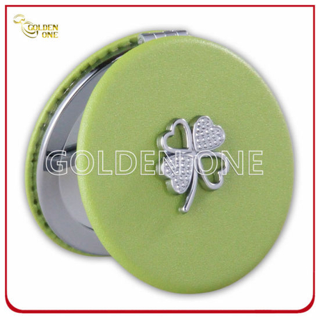 Custom Circle Shape Leather Compact Mirror with Metal Charm