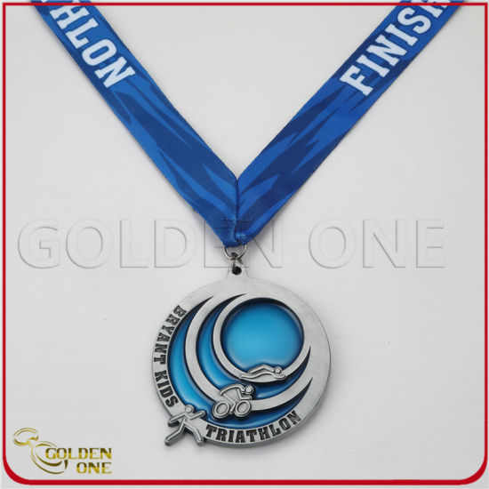 Custom Triathlon Eventtransparent Color Antique Silver Medal