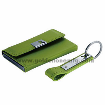 Leather Key Chain and Card Case Bussinessgift Set
