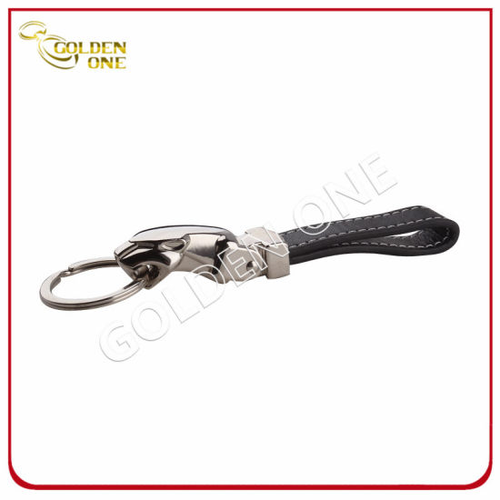 High Quality Steel Brushed Finish Epoxy Leather Keychain