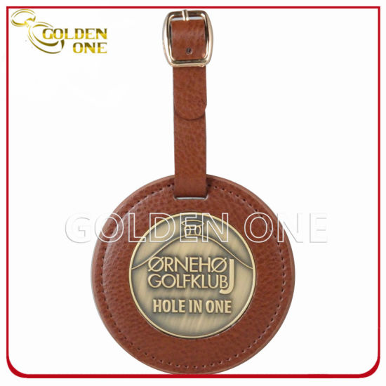 Promotional Gift Custom Genuine Leather Golf Bag Tag