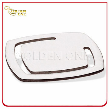 Fine Design Square Shape Nickel Plated Metal Bookmark