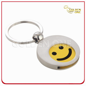 Customized Smile Pattern Metal Trolley Coin Holder Keyring