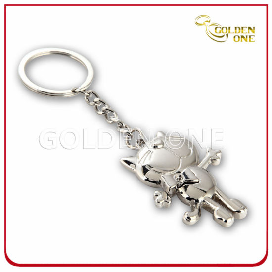 Fashion Design Shiny Nickel Plated Metal Promotion Keyring