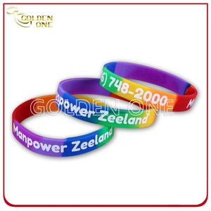 Custom Segmented Coloring with Logo Printed Silicone Wristband
