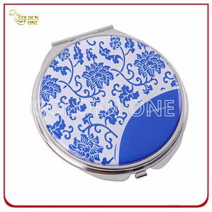 Promotional Gift Epoxy Coated Printed Metal Compact Mirror