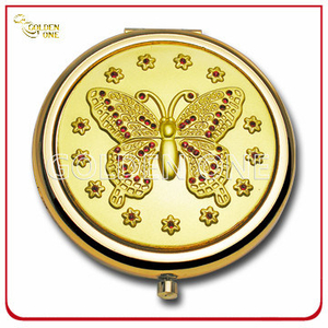 Lady′s Gift Custom Embossed Gold Plated Metal Gift Mirror