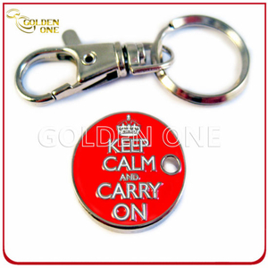 Customized Trolley Coin Key Ring with Soft Enamel Logo