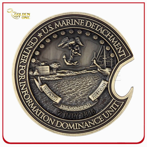 3D Antique Brass Challenge Coin for Souvenir
