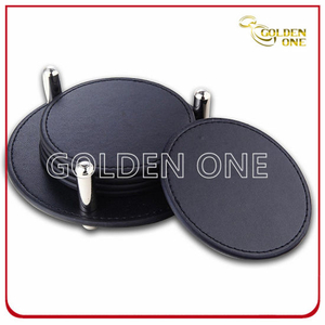 Round Shape PU Leather Coaster Set Five in One