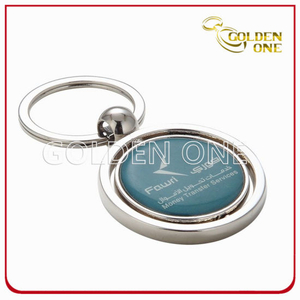 Promotional Domed Sticker Round Shape Metal Spinning Keychain