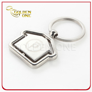 House Shape Spinning Metal Keychain