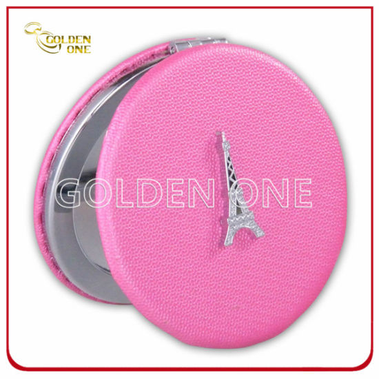 New Design Custom Printed Leather Pocket Mirror with Glitter