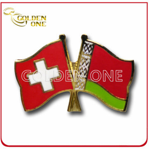Prommotion Souvenir Soft Enamel Cross Flag Enamel Pin