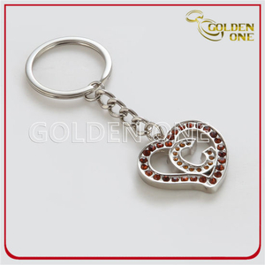 Newest Design Heart Shape with Crystal Stones Metal Key Holder