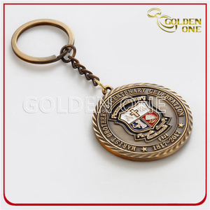 Antique Gold Embossed & Soft Enamel Metal Keychain