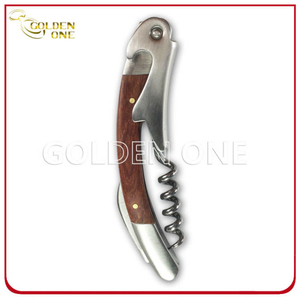 Fashion Design Stainless Steel Wine Opener with Wooden Handle