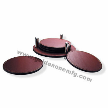 Whole Sale Creative Genuine Leather Coaster Set