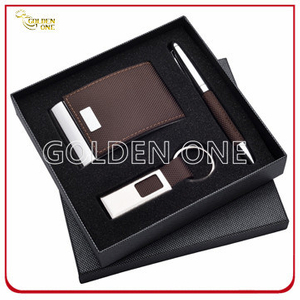 Exquisite Gift Leather Card Case and Click Pen Gift Set