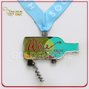 Custom Shiny Nickel Soft Enamel Metal Medal with Wine Corkscrew