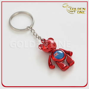 Colored Lovely Bear Custom Printed Logo Metal Keychain