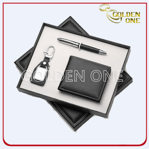 Promotional Click Pen Keychain & PU Wallet Gift Set