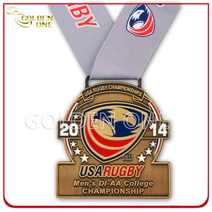 Rugby Championship Antique Brass Plated Soft Enamel Medal