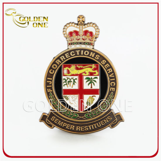 Custom Gold Metal Enamel Security Badge with Leather Backing
