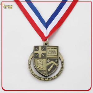Custom Die Casting Antique Brass Award Medal with Ribbon