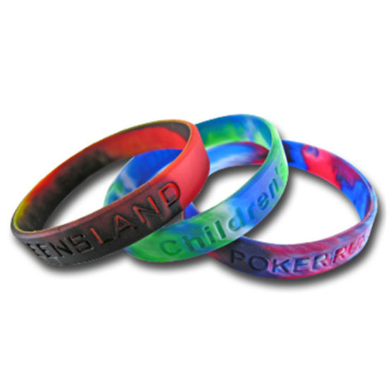 Customized Painted & Ink Filled Finish Silicone Rubber Bracelet