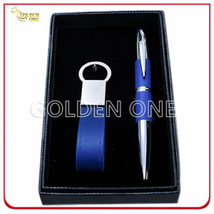 Custom PU Leather Key Chain and Click Pen Business Gift