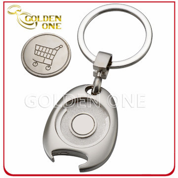 Personalized Metal Trolley Coin Keyring with Bottle Opener